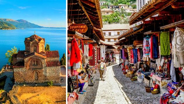 Lago Ohrid, imagem típica de bazar nos países balcânicos