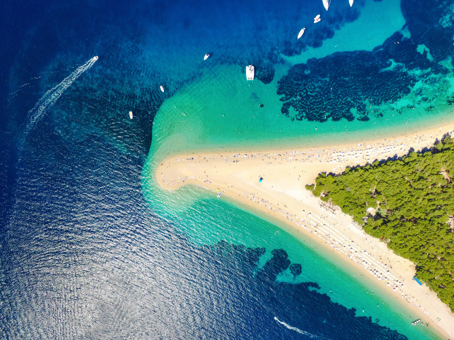 """Zlatni Rat"" or Golden Horn Beach on Brač Island is one of he best beaches in Croatia"