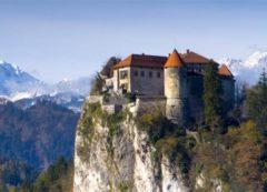 El castillo de Bled, construido en una roca alta