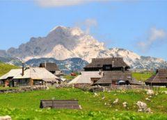 El altiplano Velika planina con cabañas pastoriles
