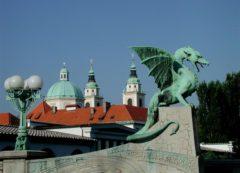 El puente de Dragon en Ljubljana