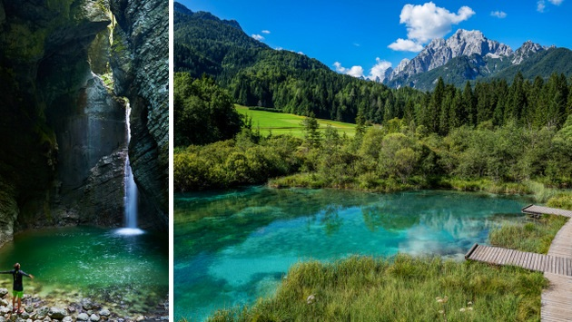Kozjak Waterfall, hidden places in the Soca River Valley & Zelenci Nature Reserve, source of the Sava River