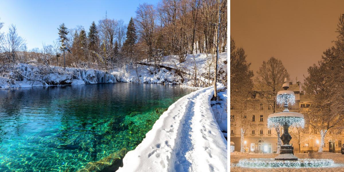 navidad e invierno en Zagreb y en Plitvice