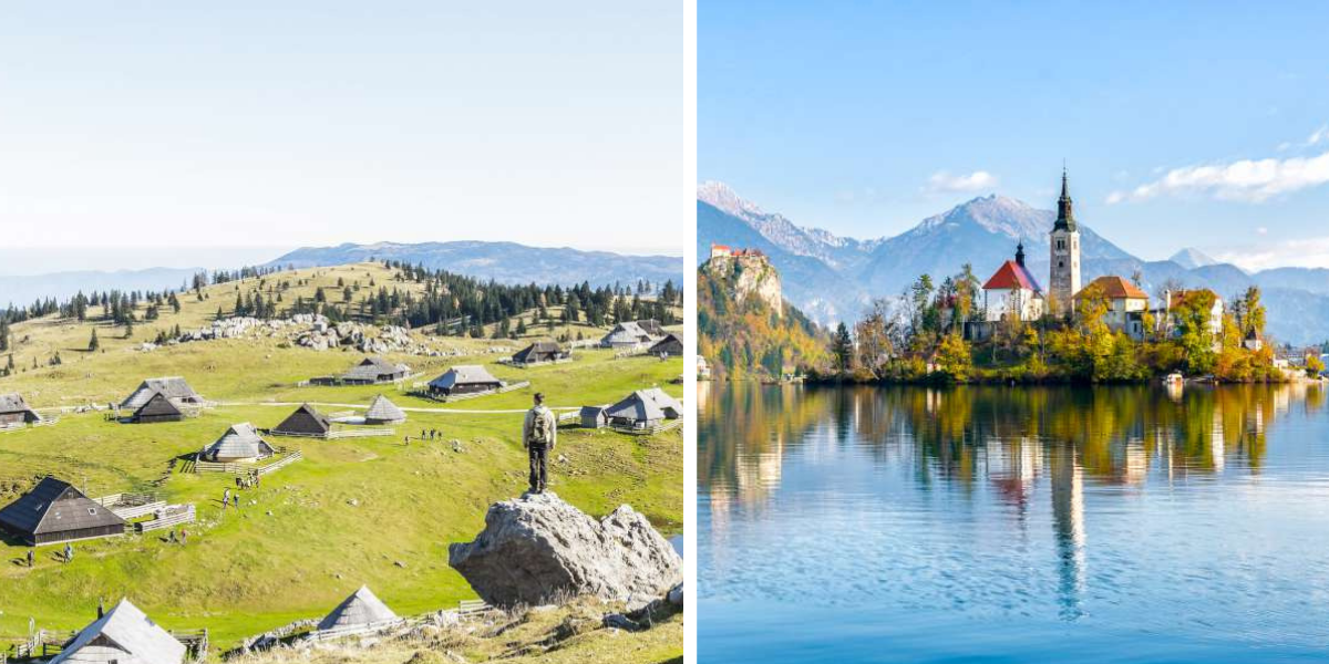 Different sceneries: Velika Planina and Bled