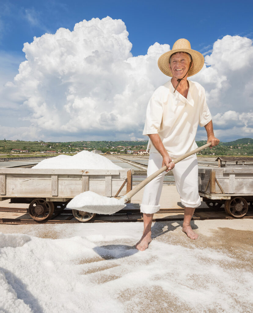Sea salt harvesting in Slovenia